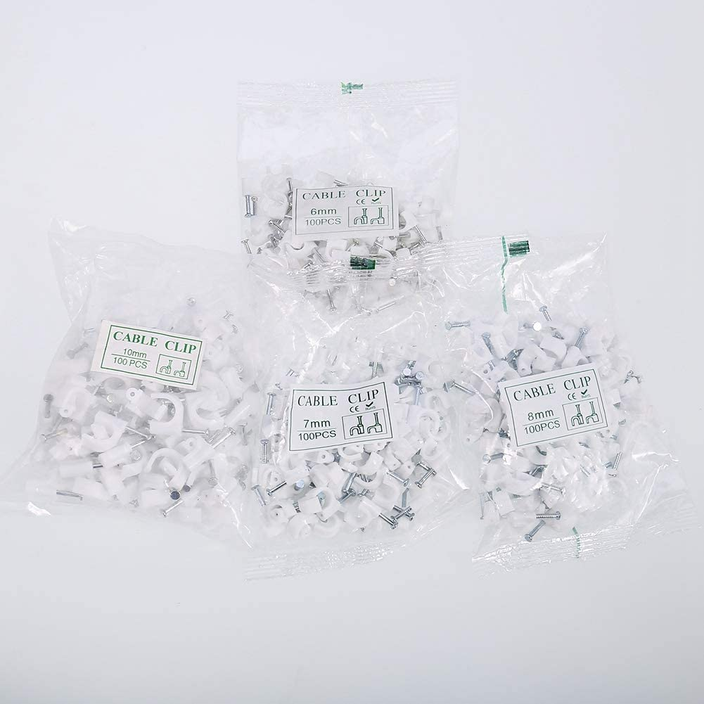 Telephone Cable Xinstroe 400 Pcs Round Cable Clips White Cable Management Assortment 6mm 7mm 8mm 10mm for Wire Ethernet Cable TV Wire