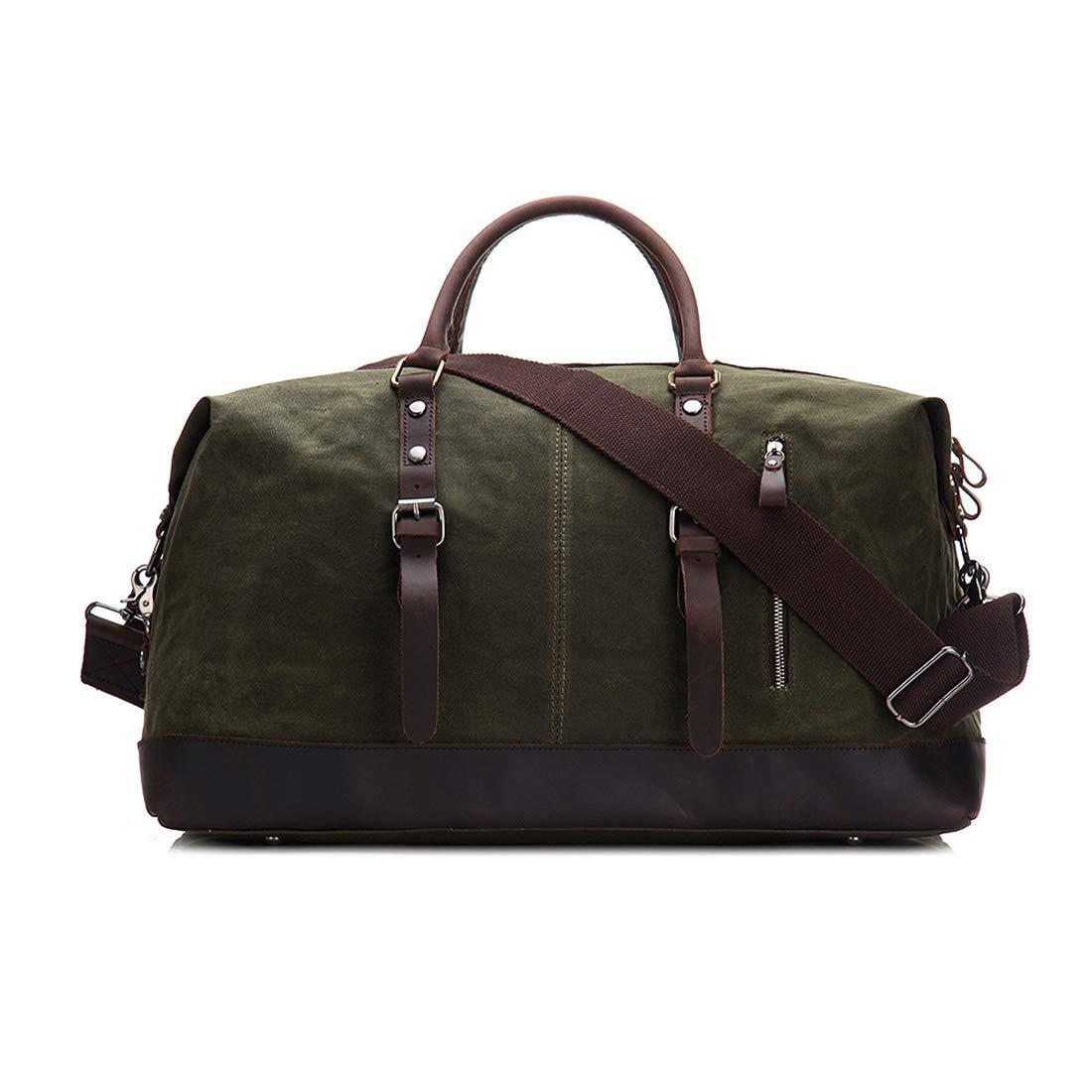 Aisiau fuku トラベルバッグ キャンバス旅行大容量ハンドバッグシングルショルダークロス多機能荷物バッグ男女兼用 軽量 折りたたみ 旅行 機内持ち (色 : アーミーグリーン) B07TG2BY7D アーミーグリーン