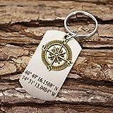 Personalized Keychain for Men, Bronze Compass Jewelry, Coordinates Key Ring, Custom Latitude Longitude, GPS Locatoin Engraved Dog Tag Key Chain