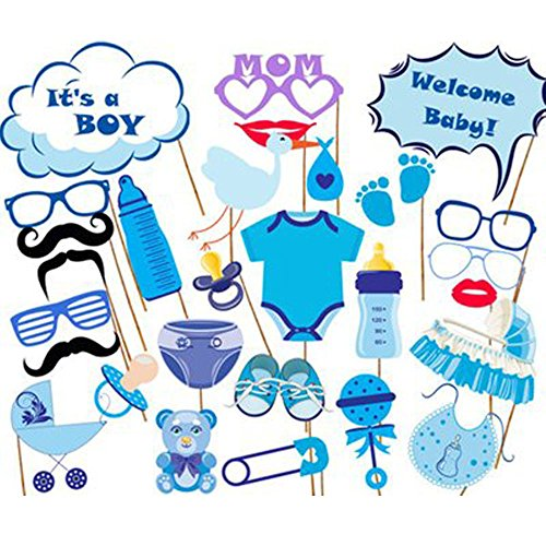 25 Pieces Boy Baby Shower Party Photo Booth Props Kits on Sticks - 3