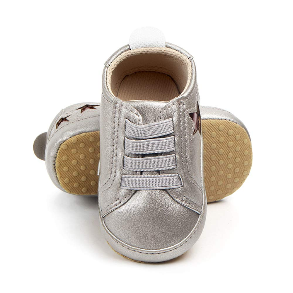 Enteer Baby Girls Classic Solid Colors Rubber Canvas Shoes with Hook/&Loop for 3-24Months