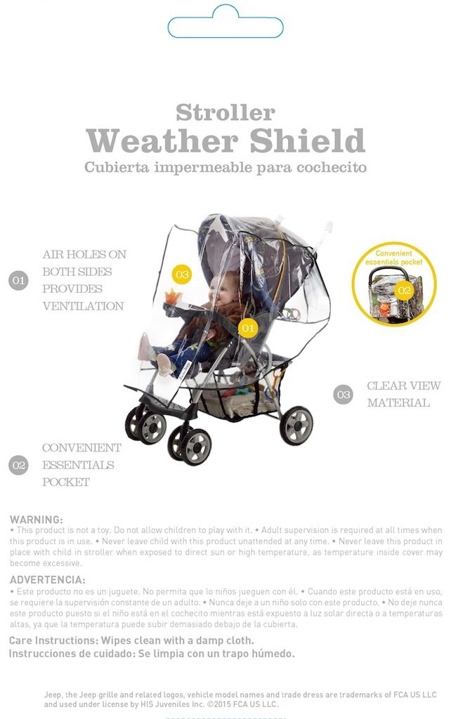 Waterproof Clear Vinyl Plastic Universal Size Ventilation Jeep Standard Stroller Rain Cover Stroller Accessories Stroller Weather Shield Windproof Baby Rain Cover Stroller Rain Cover