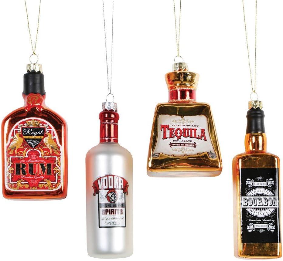 Kurt Adler Glass Bottle of Alcohol Ornament - 4 Assorted: Vodka, Whiskey, Tequila and Rum