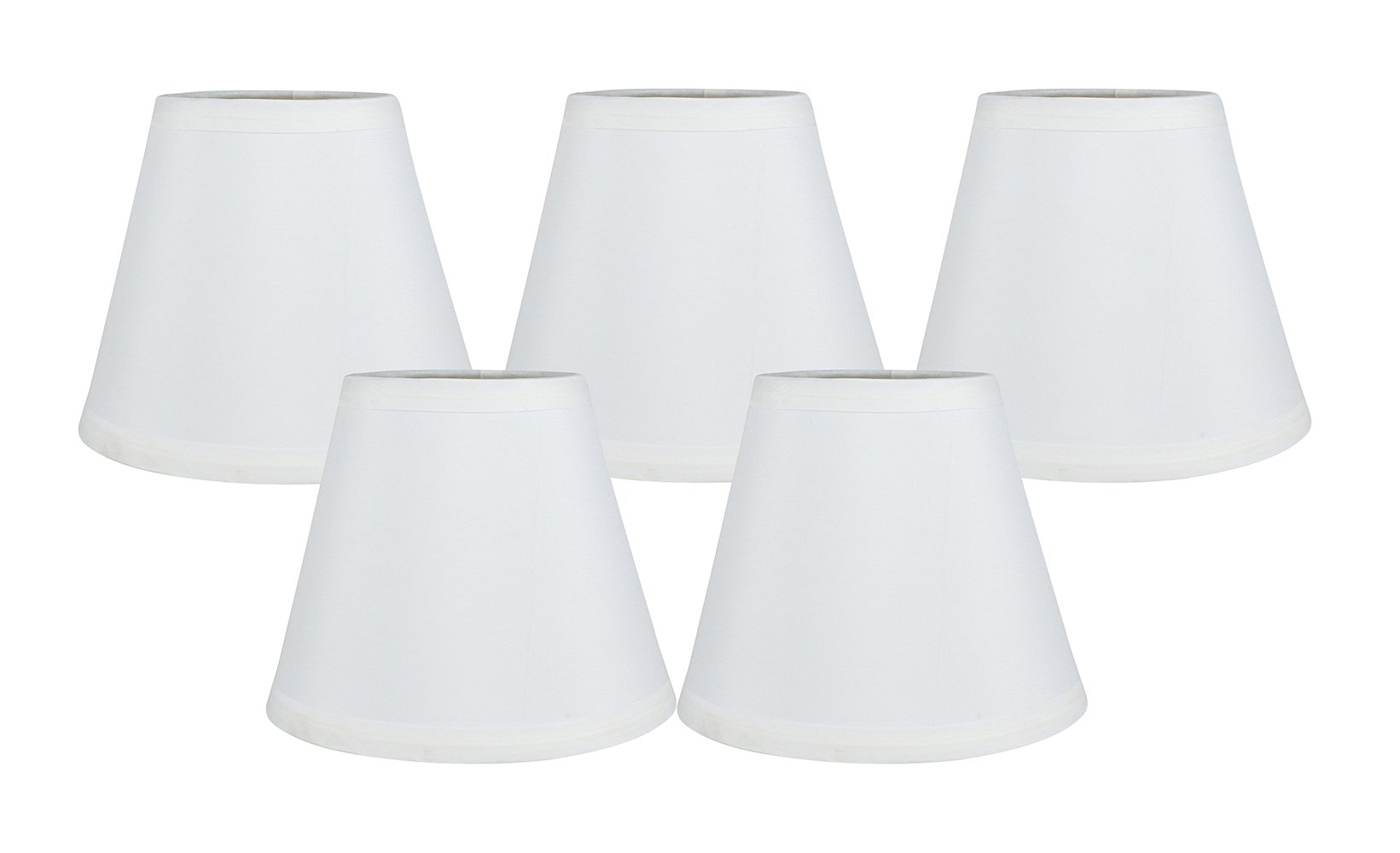 Meriville Set of 5 Off White Clip On Chandelier Lamp Shades, 3.5-inch by 6-inch by 5-inch