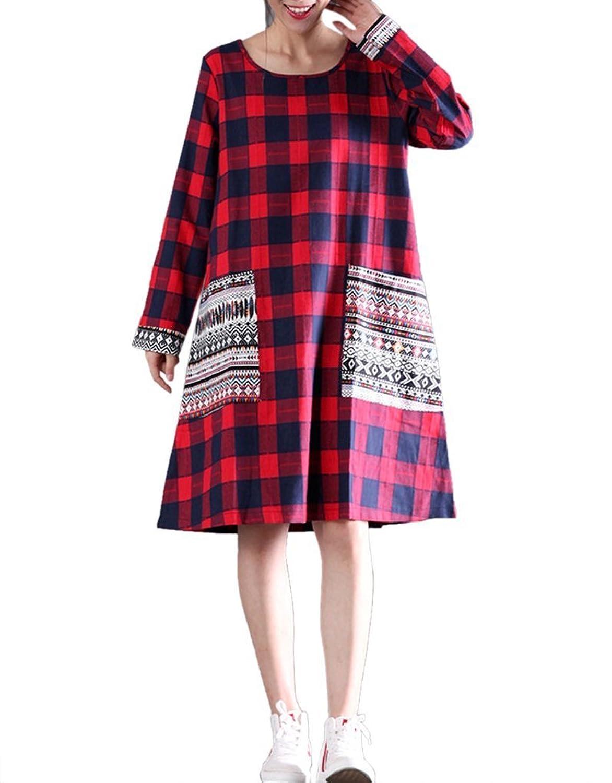 Catherine Lo-Brown Women's Autumn Vintage Loose Mori Girl Plaid Long Sleeve Cotton Dress