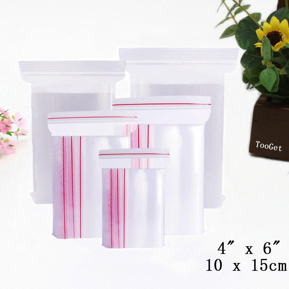 TooGet Heavy Duty Bolsas de Cremallera Que se Pueden Volver a Cerrar de Plástico Bolsas con Cremallera Resellables Transparentes, 10x15cm, 2 Mil - 100PCS