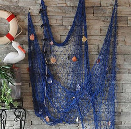 ve Nautical Fishing Net Seaside Wall Beach Party Sea Shell Decor (Blue) (Pond Fishnet)