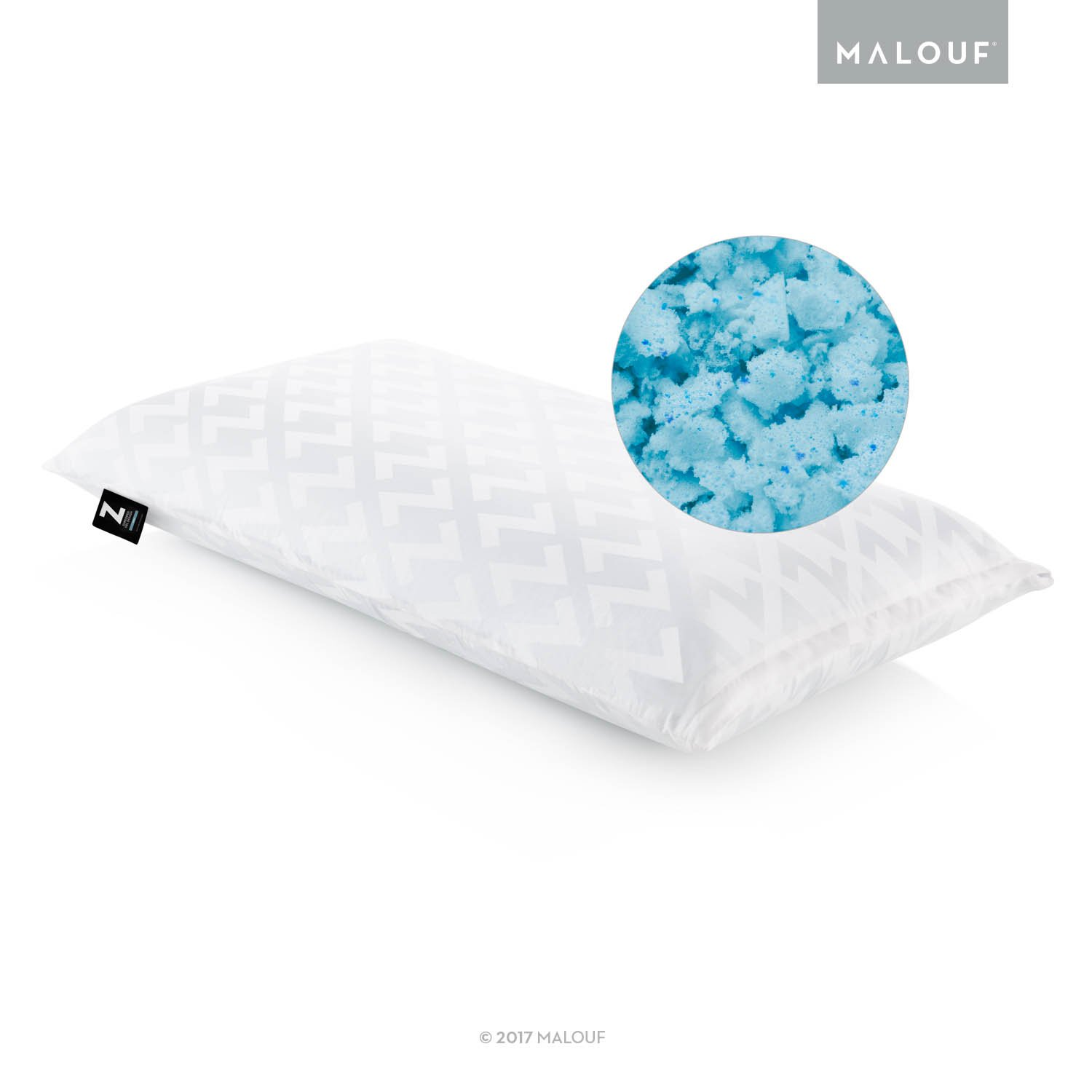 MALOUF Z Shredded Gel Infused Memory Foam Pillow - Queen, White