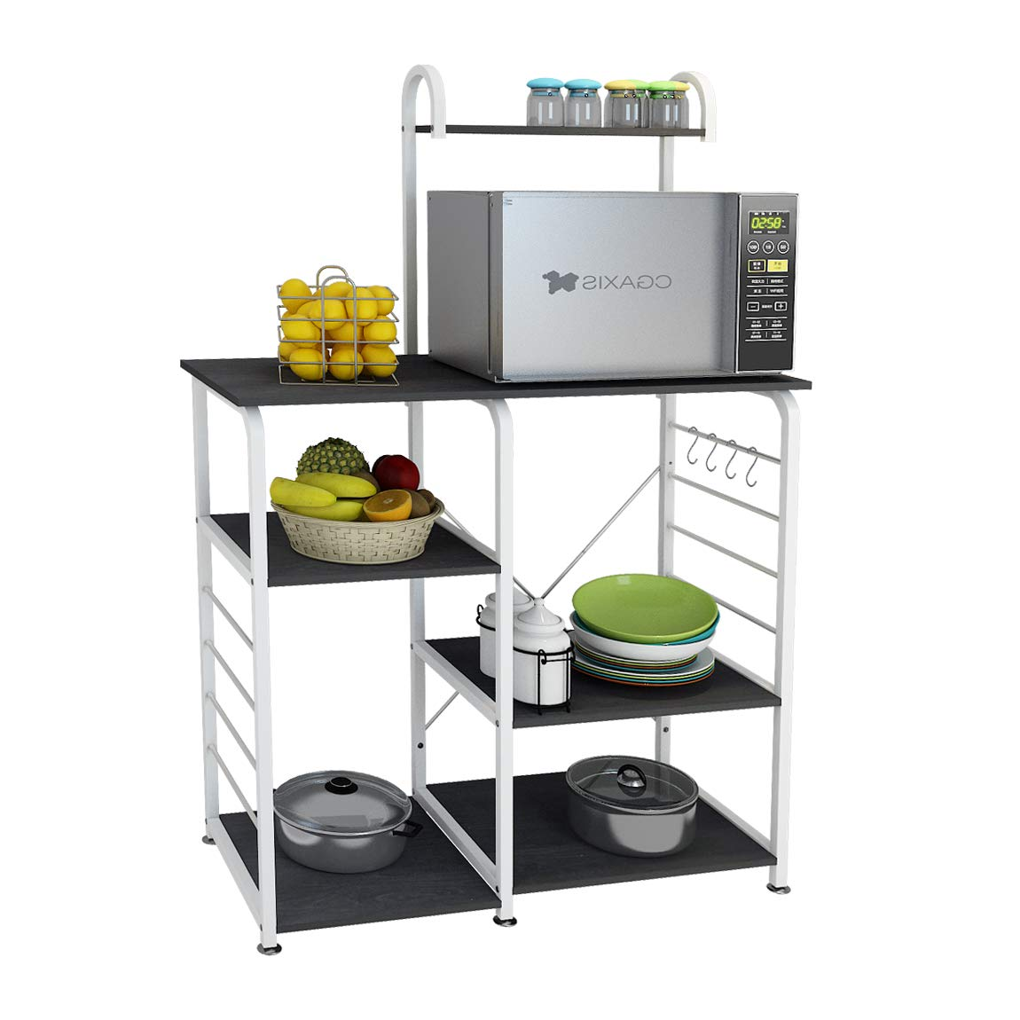 DlandHome Microwave Cart Stand 35.4 inches, Kitchen Utility Storage 3-Tierx4-Tier for Baker and Rack and Spice Rack Organizer Workstation Shelf, 172-B Black, 1 Pack by DlandHome