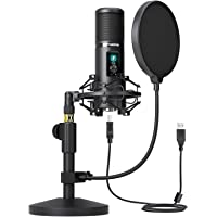 USB Microphone Kit, 192kHz/24Bit MAONO AU-PM421T PC Condenser Podcast Streaming Cardioid Mic with Mute Button and gain…