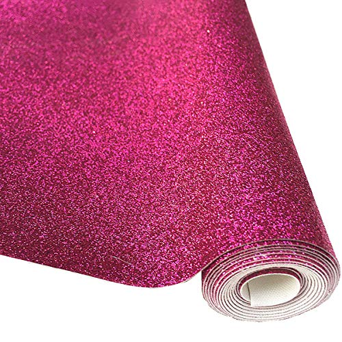 ZAIONE 8 x 53 (21cm x 135cm) Roll Sparkly Superfine Glitter Vinyl Fabric Fine Glitter PU Leather Canvas Back Material for Shoes Bag Sewing Patchwork DIY Bow Craft Applique?Cerise?