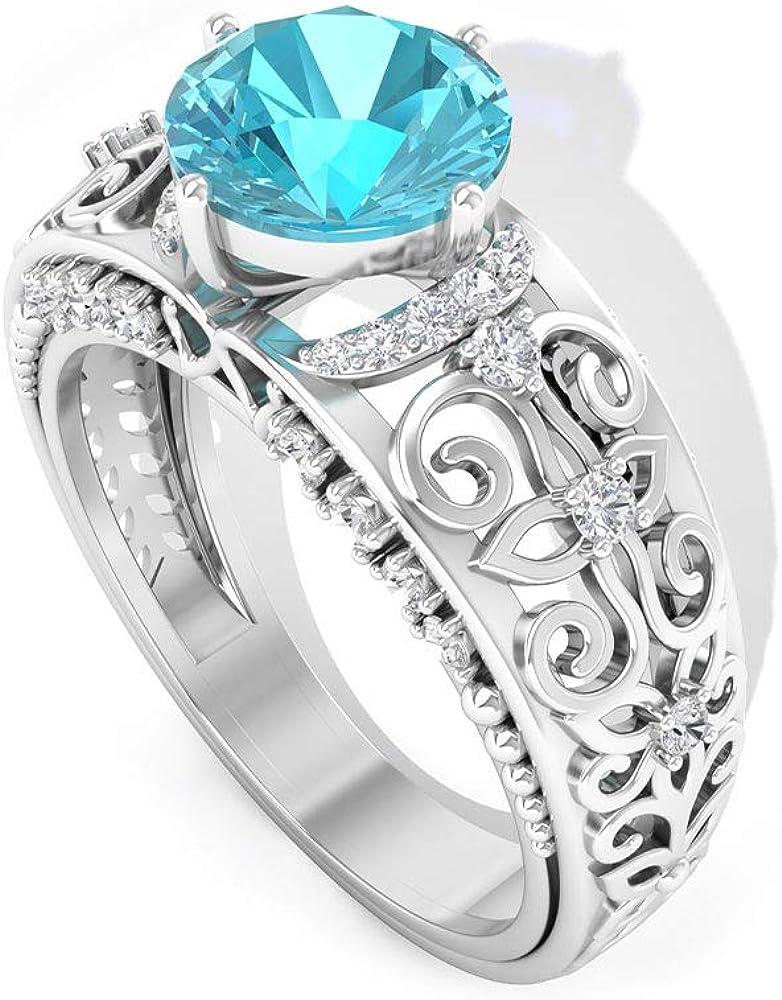 Anillo de boda suizo con topacio azul de 1,4 ct, certificado SGL, anillo de compromiso con diamantes, grabado vintage, IJ-SI, claridad de color, anillo de declaración de diamante