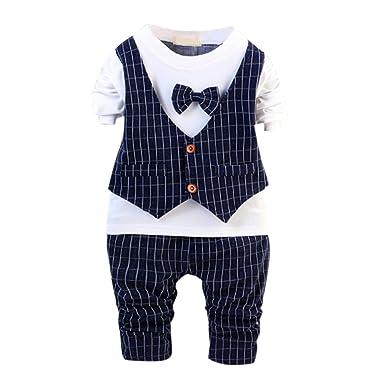 987392b9d7a83 Chic-Chic Ensemble Bébé Garçons Enfants T-Shirt à Manches Longues +  Pantalons Gentleman