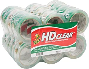Duck Brand HD Clear Heavy Duty Packaging Tape, 1.88 Inches x 54.6 Yards, Clear, 24 Pack (393730)