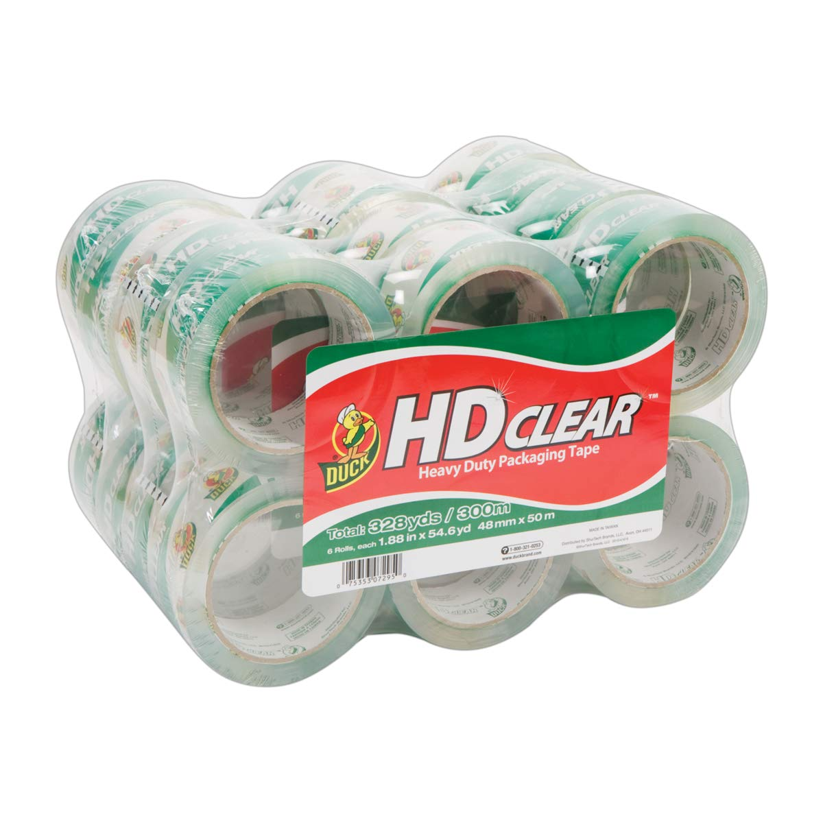 Duck Brand HD Clear Heavy Duty Packaging Tape, 1.88 Inches x 54.6 Yards, Clear, 24 Pack (393730) by Duck