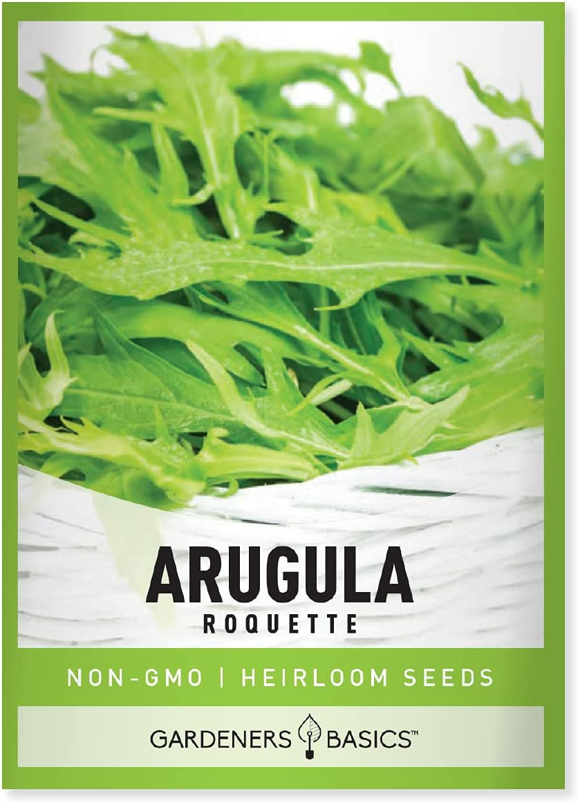 Arugula Seeds for Planting - Roquette Variety Heirloom Non-GMO Vegetable Plant for Home Garden Vegetables Great for Winter and Spring Makes a Great Gift for Gardening by Gardeners Basics