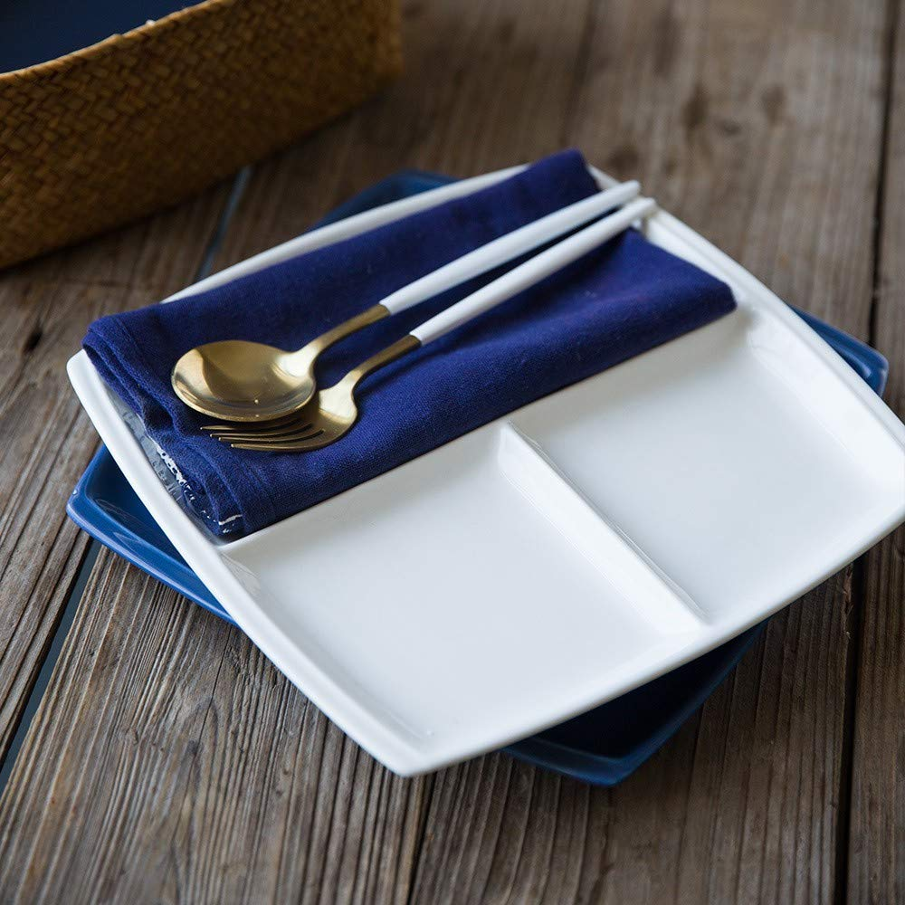Steak Ap/éritif Sophistiqu/é et /Él/égant Plateau Rectangulaire Convient pour Snacks Onepine Assiettes en Porcelaine avec 3 Compartiments Petit d/éjeuner