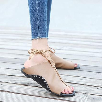 f8468fc83adde Amazon.com: Sandales Femme 2018 Women Flat-Bottomed Roman Sandals ...