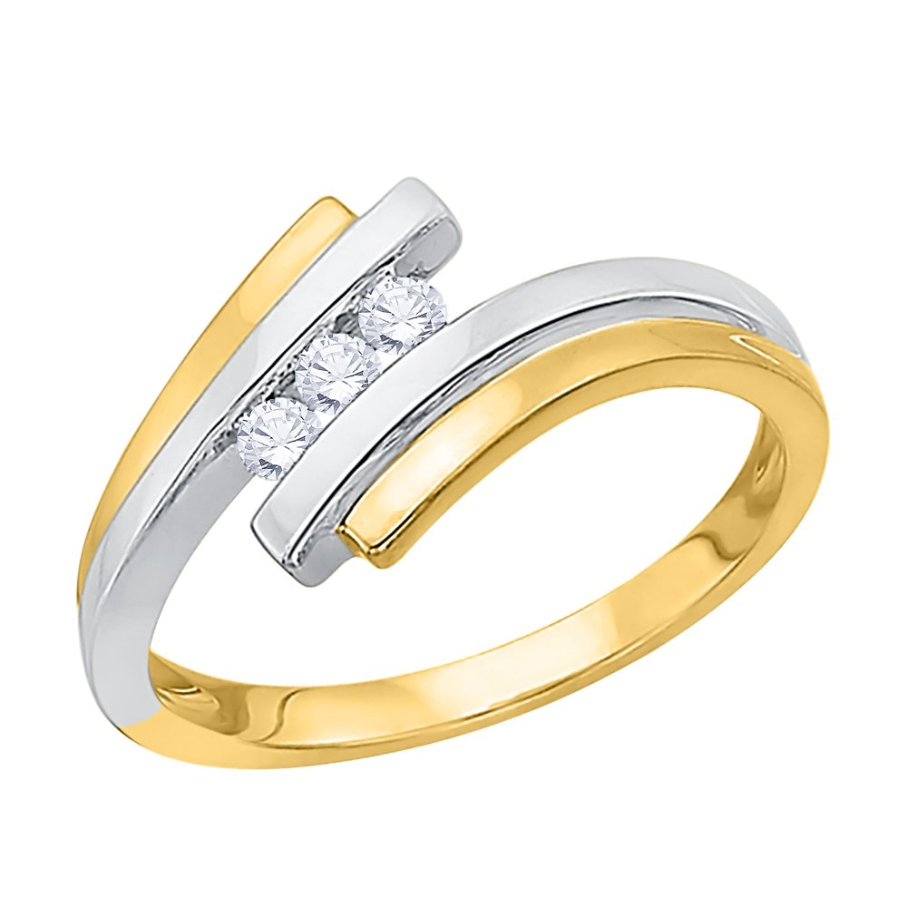 3 Diamond Promise Ring in 10K Two Tone Gold (1/10 cttw) (GH-Color, I2/I3-Clarity) (Size-8.5)