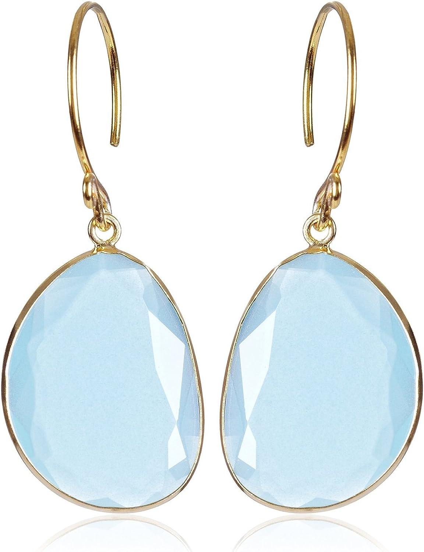 Córdoba Jewels | Pendientes en plata de Ley 925 bañado en oro y piedra semipreciosa. Diseño Pacific Agua Marina