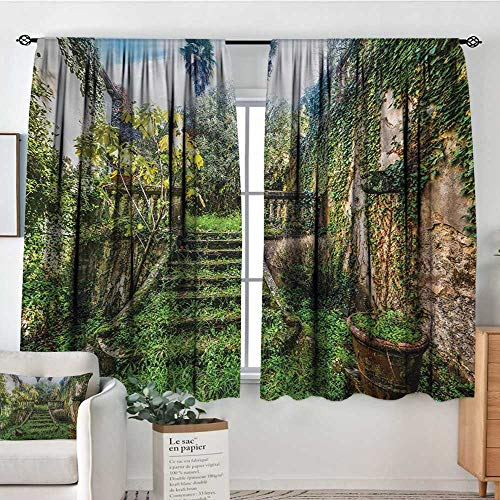 (Nature Room Darkening Curtains Ancient Fairytale Theme Hidden Garden with Botanic Trees Flowers Ivy Image Print Drapes for Living Room 72