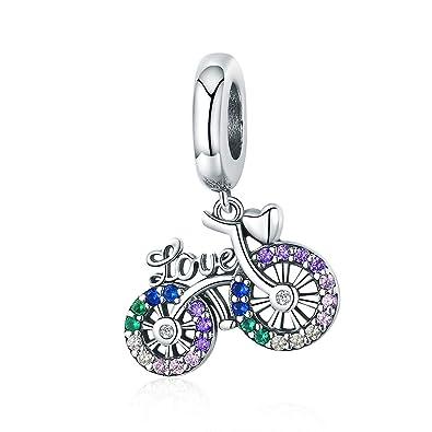 Cadeau De Noël Pour Fille.Reiko Amour Bicyclette 925 Argent Charms Bricolage Perles