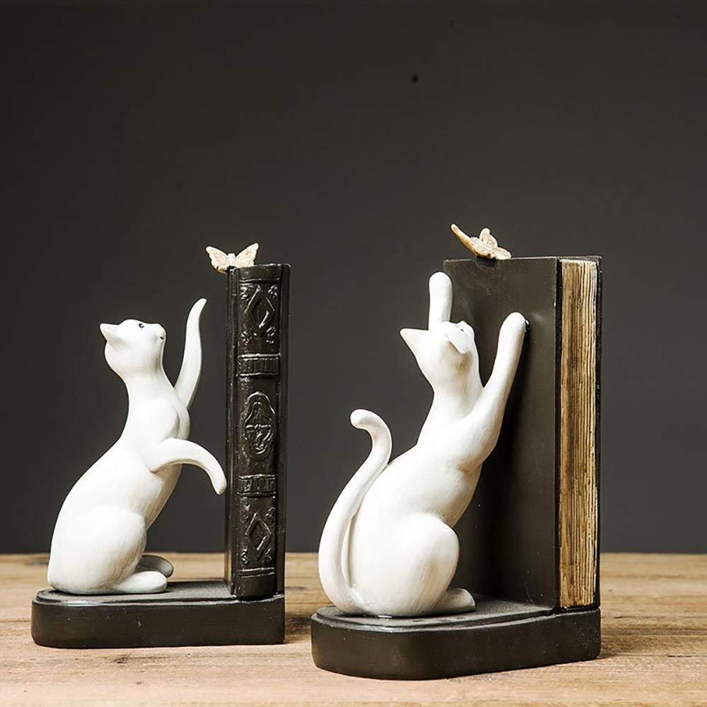 Kitten Resin Bookends Crafts Ornaments for The Office Study Room Living Room 1pair Creative Home Bookends Ornaments