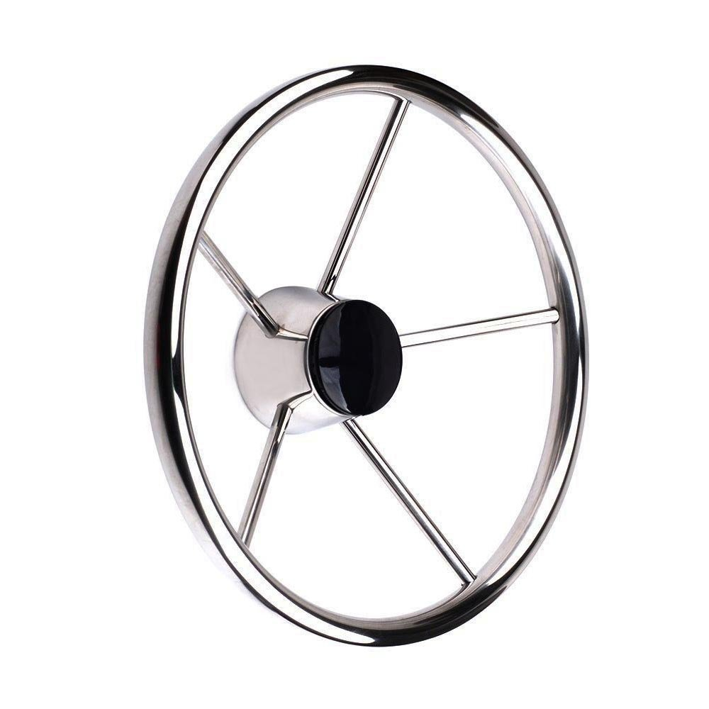 "13-1/2"" Destroyer Style Stainless Boat Steering Wheel"