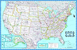 CoolOwlMaps 2017 United States Wall Map Classic Blue Style - Poster Size (36\