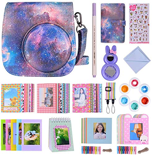 Bsuuy Instax Mini 9 Camera Accessories Bundles Compatible with FujiFilm Instax Mini 9 Mini 8 Mini 8+ Camera with Mini 9 Case, Six Color Filters,Rainbow Shoulder Strap etc.(Dazzling Meteor 14Items)
