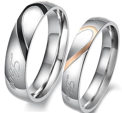 LAVUMO acero inoxidable real Love Corazón Mujeres Hombres Anillos de boda par aniversario banda para él