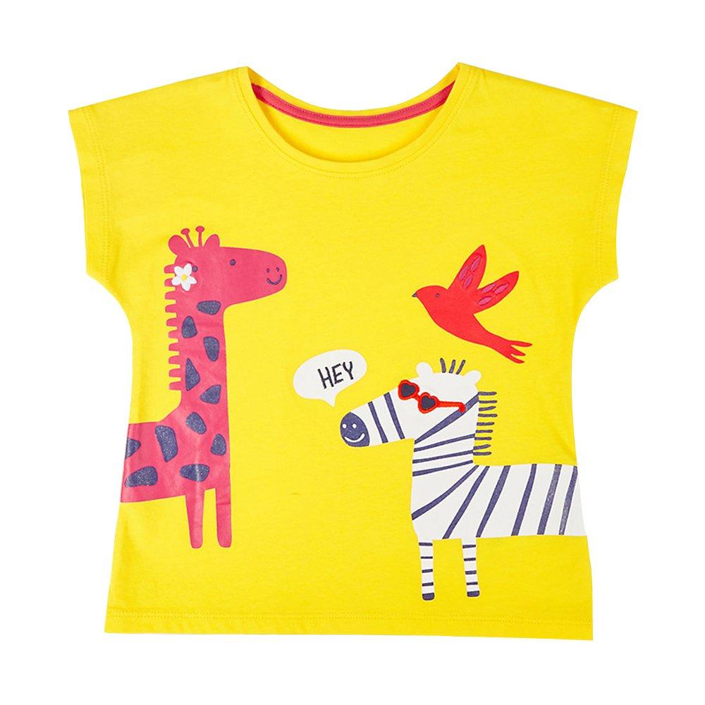 HUAER& Little Girl's Summer Cartoon Pattern Cotton Short-Sleeved T-Shirt (6T, Yellow)