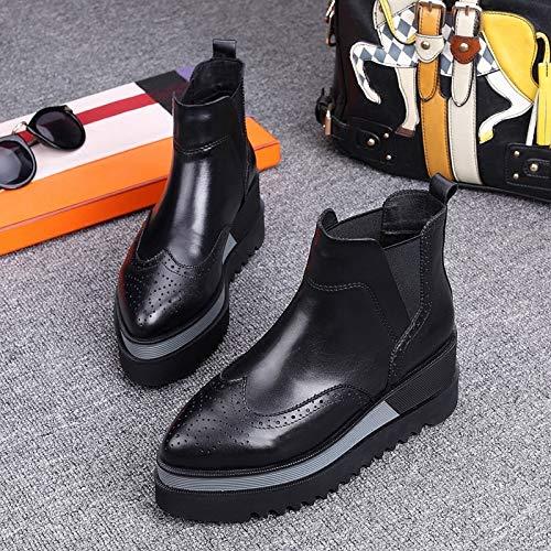 Cuero Negro 7cm Magdalena KOKQSX El Alto Botas Martin otoño 37 Zapatos Grueso de Inferior señaló de 38 y con de Invierno black el Mujer Fondo rzBwqrxT