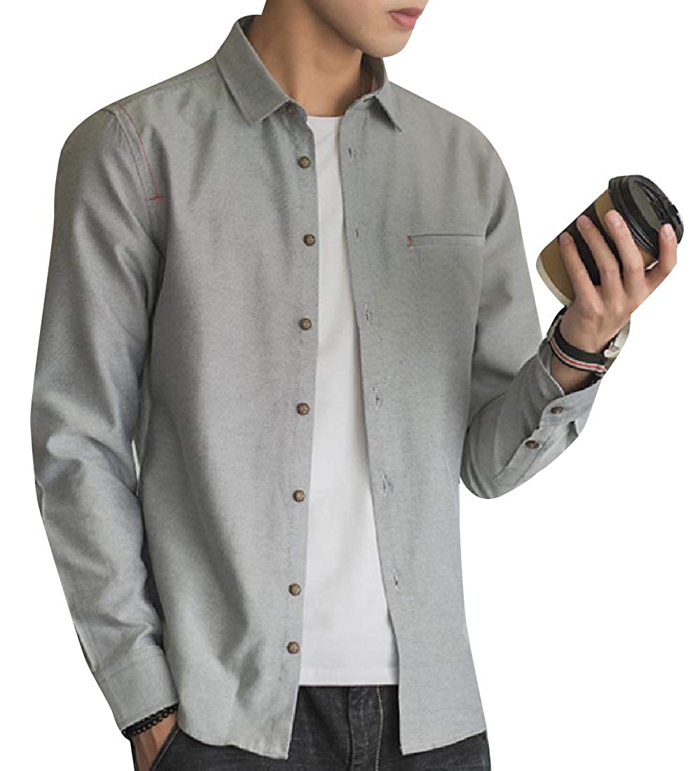 Zimaes-Men Retro Style Slim Casual Oxford Long Sleeves Top Shirt