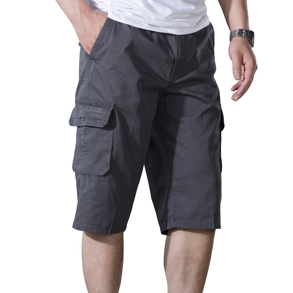 LOGEEYAR Men's Cargo Elastic Waist Cotton Relaxed Short Outdoor Wear(Gray 3XL)