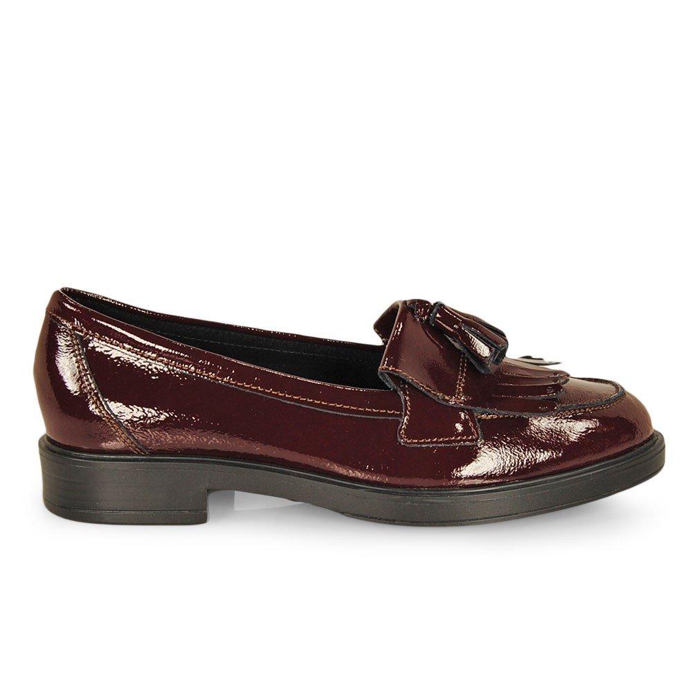Esther Mendez - Mocasin Borlas Flecos Burdeos: Amazon.es: Zapatos y complementos
