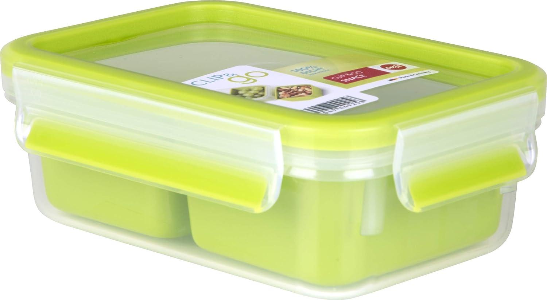 Trasparente//Verde Chiaro Emsa Clip /& Go Contenitore Snack con Inserti 19.5 x 13.5 x 7 cm