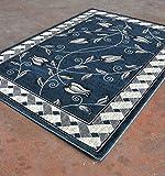 Homemusthaves Super Soft Floral 3-Dimentional Modern Contemporary Polyester Area Rug Carpet Living Room Bedroom Rug Carpet Floor Hand Carved Rug Carpet (2'x7'2″, Blue) For Sale