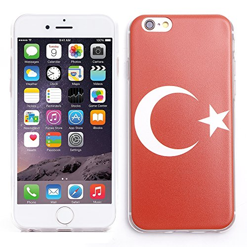 iProtect EM Schutzhülle Apple iPhone 6, 6s (4,7 Zoll) Flag TPU Soft Case Türkei Flagge