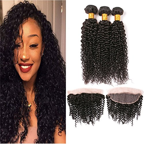 Brazilian Kinkys Curly Virgin Hair With Lace Frontal Closures 13X4 Tight Curl Bleached Knots Silk Frontal Free Part All Curly Hair Natural Color 16 18 20 + 14