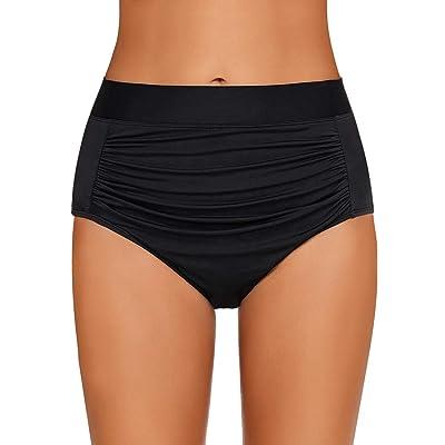 GRAPENT Women's High Waisted Swim Bottom Ruched Bikini Tankini Swimsuit Briefs: Clothing