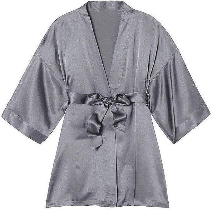 Mujeres Chándal De Seda Camisón Manga Corta Vintage Pijamas Kimono ...