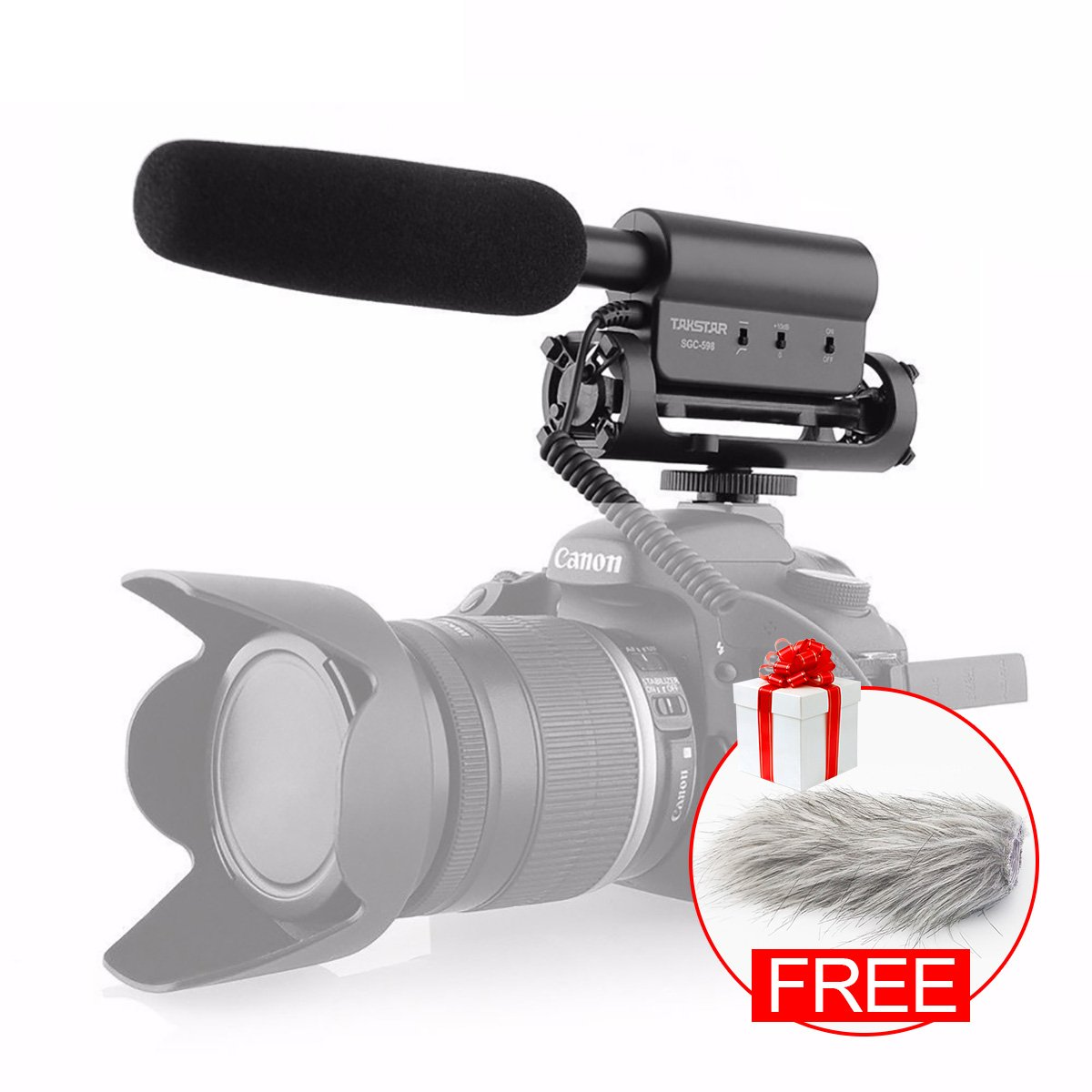 Free Furry Windscreen Muff, SGC-598 Photography Interview Shotgun MIC Microphone for Nikon Canon DSLR Camera (Need 3.5mm Interface)
