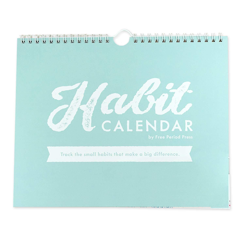 Free Period Press Habit Calendar & to Do List Planner, Spiral Bound Habit Tracker with Writable Goals, 12 Months Undated, 8''x10'' by Free Period Press