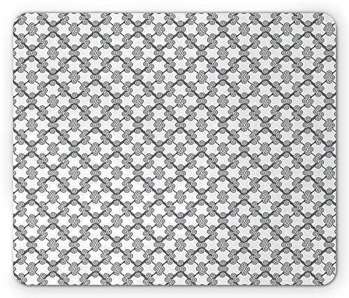 Grey Mouse Pad, Victorian Light Toned Spiral Spherical on Diamond Repeating Pattern Creative Work of Art, Standard Size Rectangle Non-Slip Rubber Mousepad, White ()