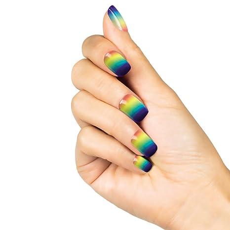 NET TOYS Uñas Postizas Arcoíris - 24 Piezas | Uñas Artificiales Coloridas | Uñas Falsas Hippy