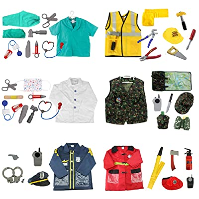 TopTie 6 Sets Pretend Play Costumes for Boys Role Play Sets Dress up Clothes: Clothing