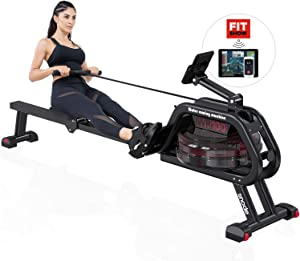 SNODE Water Rowing Machine Water Resistance Rower Training Exercise Equipment LCD Digital Monitor and Transport Wheels Home Gym Equipment…