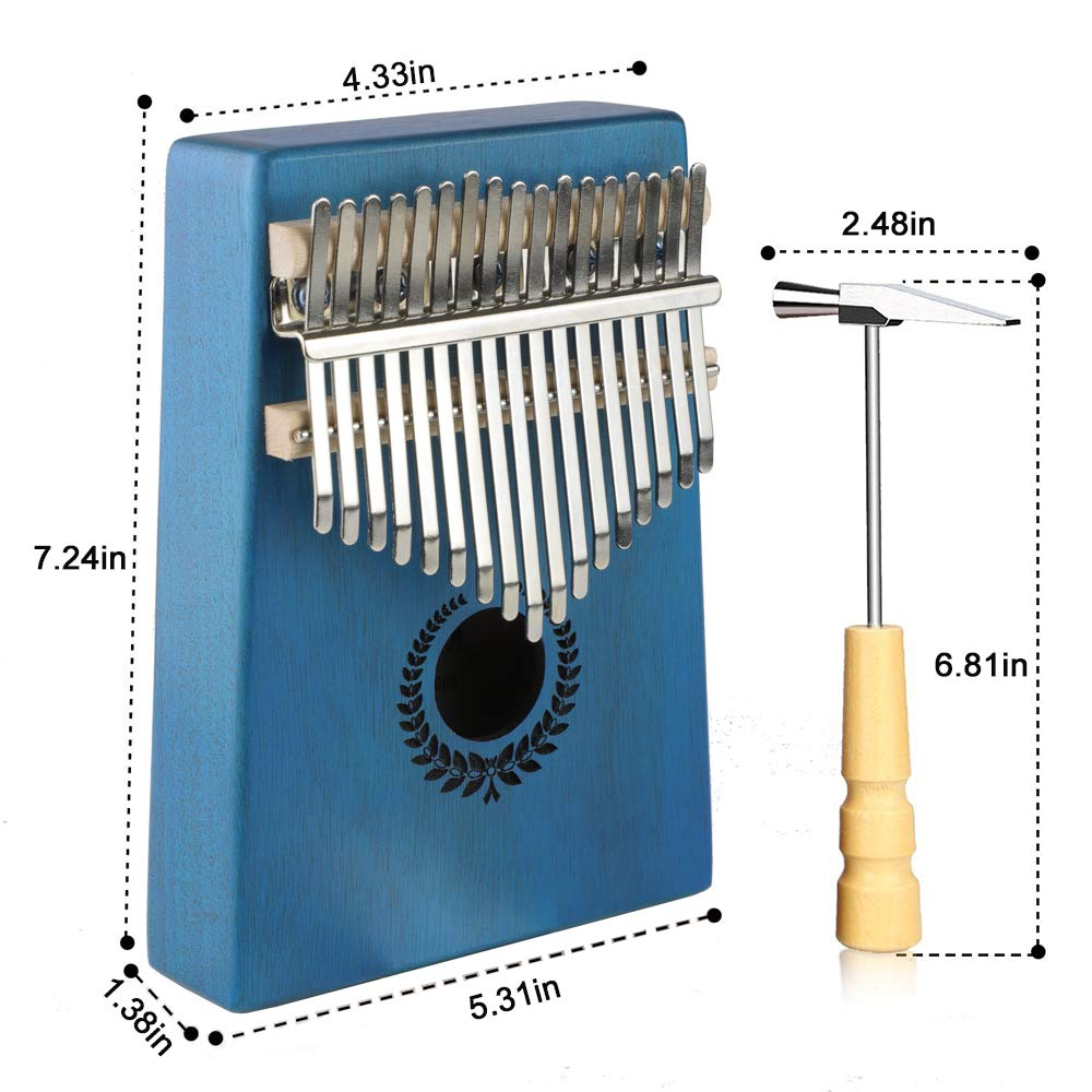 FluTune 17 Keys Kalimba Piano - Portable Mahogany Wood African Music Instrument Thumb Finger Piano with Tuning Hammer, Bag, Study Booklet and Key Stickers for Kids Adult Beginners, Professionals(Blue)