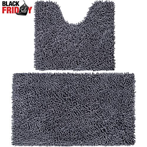 Vdomus Microfiber Bathroom Contour Rugs Combo, Set of 2 Soft Shaggy Non Slip Bath Shower Mat and U-Shaped Toilet Floor Rug (Dark Gray)